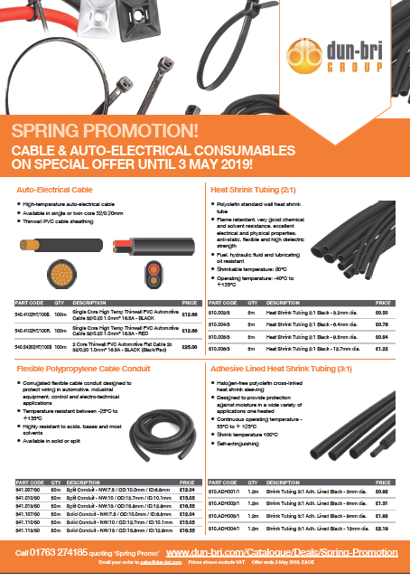 Cable and auto-electrical consumables promotion - valid until 3 May 2019