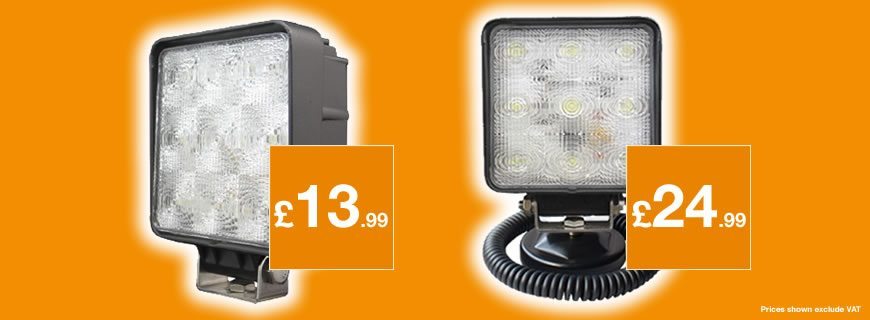 LED worklamps from just £13.99 – that's an enlightening offer