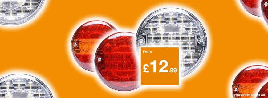 140mm LED rear lamps from only £12.99 + VAT!