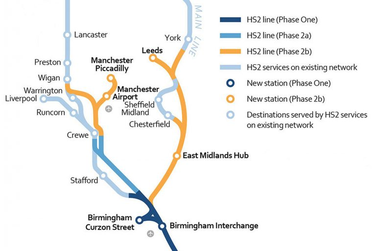 HS2 route plan. Credit DfT. Crown copyright.